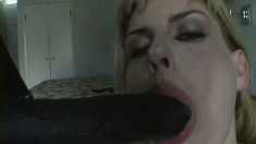 Tattooed MILF takes his big black cock and swallows his load